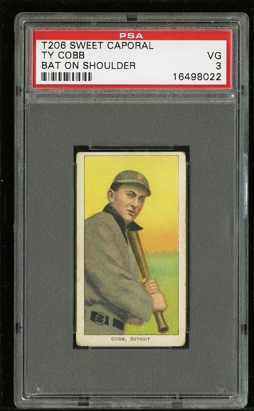 Image of: 1909-11 T206 Ty Cobb BAT ON SHOULDER PSA 3 VG (PWCC)