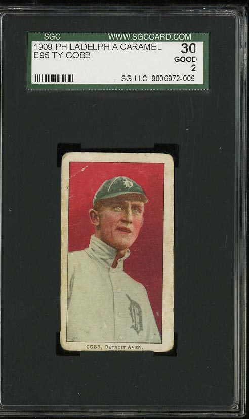 Image of: 1909 E95 Philadelphia Caramel Ty Cobb SGC 2/30 GOOD (PWCC)