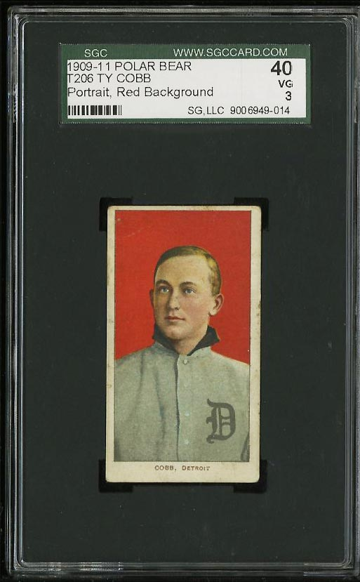 Image of: 1909-11 T206 Ty Cobb RED PORTRAIT, POLAR BEAR SGC 3/40 VG (PWCC)