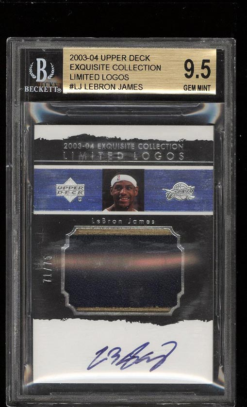 Image of: 2003 Exquisite Limited Logos LeBron James ROOKIE AUTO PATCH /75 BGS 9.5 (PWCC)