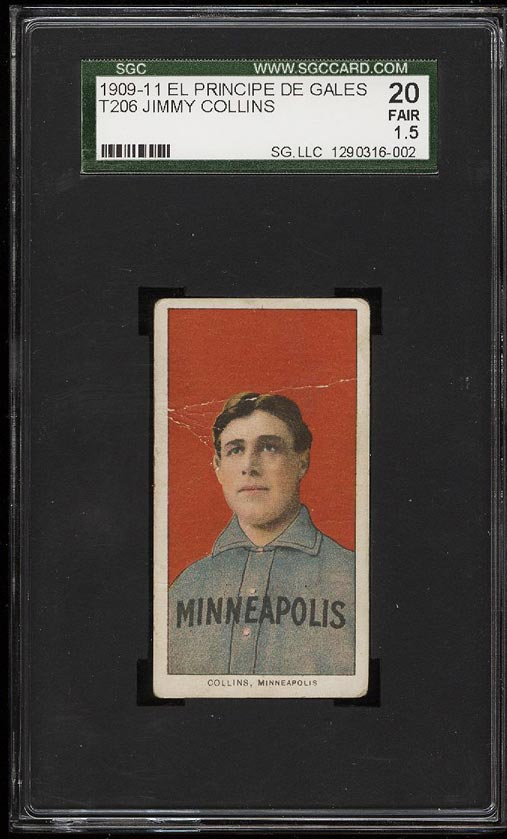 Image of: 1909-11 T206 Jimmy Collins EPDG SGC 1.5/20 FAIR (PWCC)