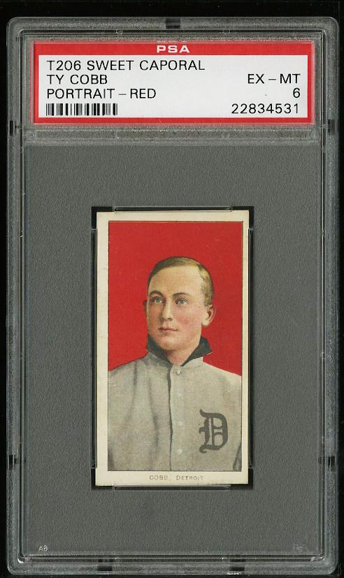 Image of: 1909-11 T206 Ty Cobb RED PORTRAIT PSA 6 EXMT (PWCC)
