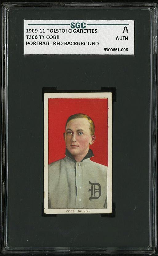 Image of: 1909-11 T206 Ty Cobb RED PORTRAIT, TOLSTOI SGC AUTH (EXMT) (PWCC)