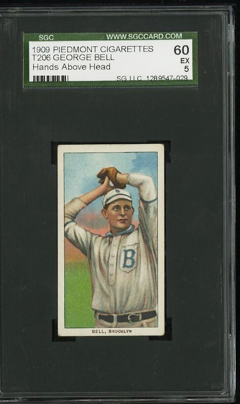 Image of: 1909-11 T206 George Bell HANDS ABOVE HEAD SGC 5/60 EX (PWCC)