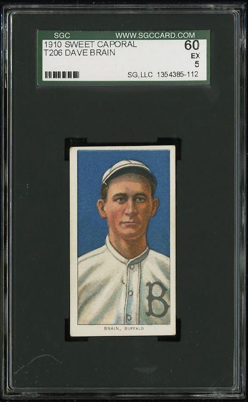 Image of: 1909-11 T206 Dave Brain SGC 5/60 EX (PWCC)