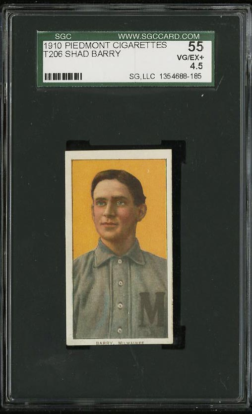 Image of: 1909-11 T206 Shad Barry SGC 4.5/55 VGEX+ (PWCC)