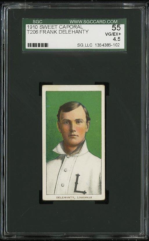 Image of: 1909-11 T206 Frank Delehanty SGC 4.5/55 VGEX+ (PWCC)
