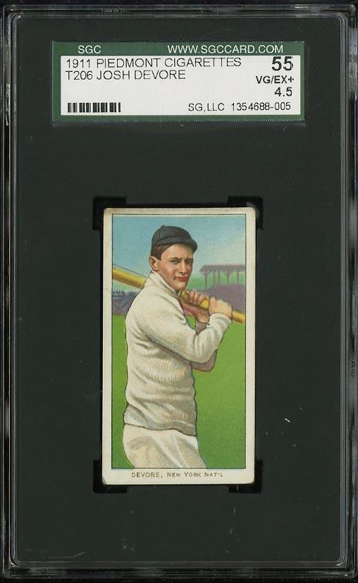 Image of: 1909-11 T206 Josh Devore SGC 4.5/55 VGEX+ (PWCC)