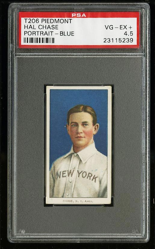 Image of: 1909-11 T206 Hal Chase BLUE PORTRAIT PSA 4.5 VGEX+ (PWCC)