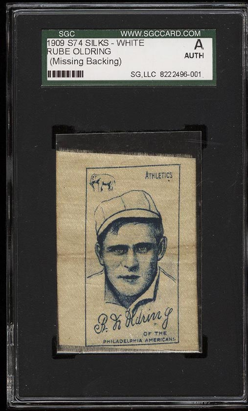 Image of: 1909 S74 White Silks Rube Oldring SGC AUTH (PWCC)