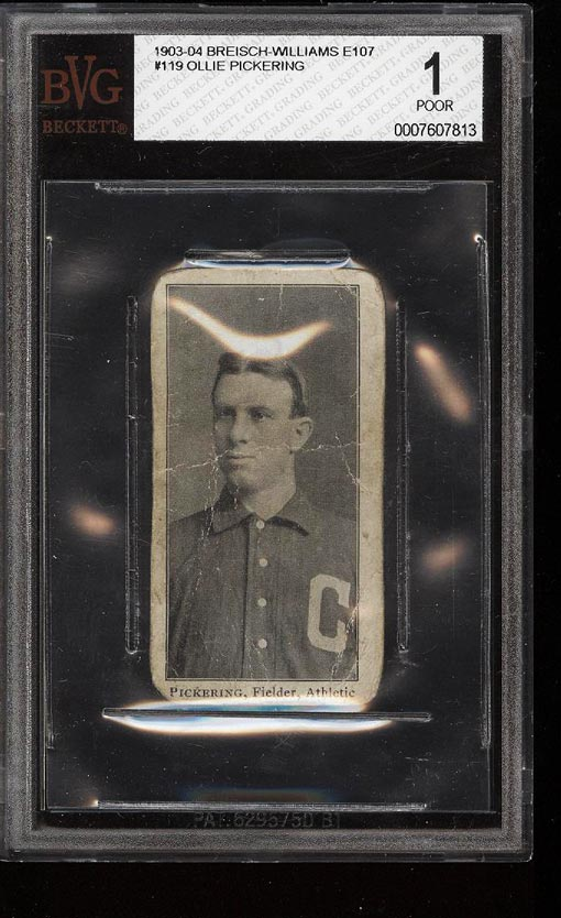 Image of: 1903-04 E107 Breisch Williams Olie Pickering #119 BVG 1 POOR (PWCC)