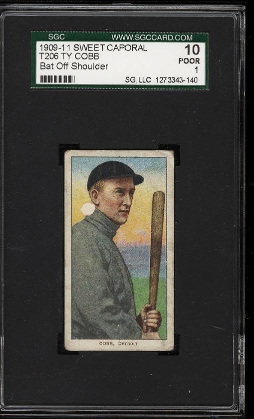 Image of: 1909-11 T206 Ty Cobb BAT OFF SHOULDER SGC 1/10 POOR (PWCC)