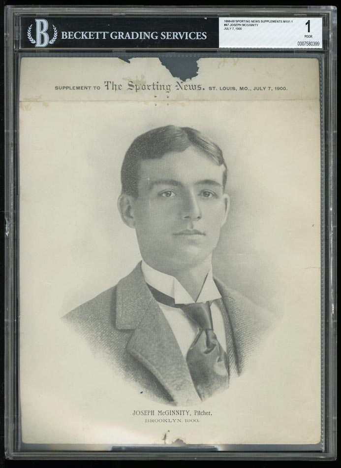 Image of: 1899 M101-1 Sporting News Supplements Iron Man McGinnity #47 BGS 1 POOR (PWCC)