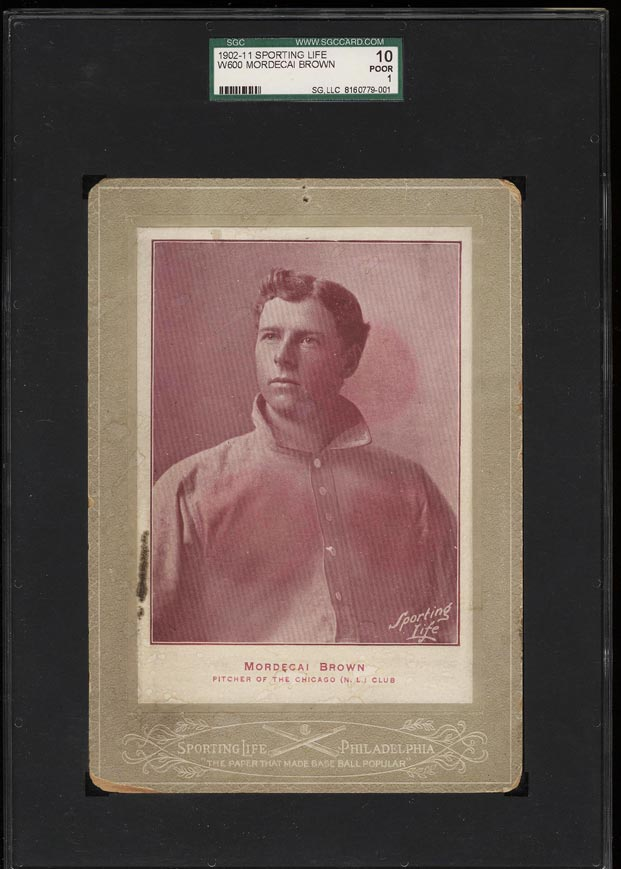 Image of: 1902-11 W600 Sporting Life Cabinet Mordecai Brown SGC 1/10 POOR (PWCC)