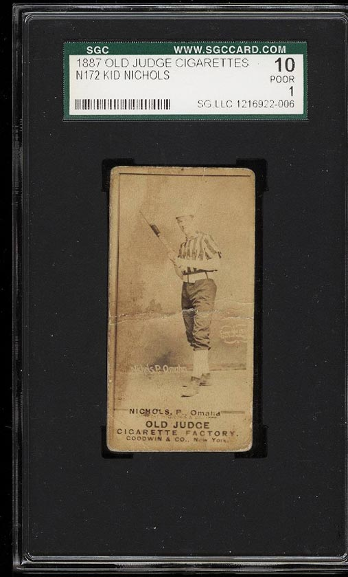 Image of: 1887 N172 Old Judge Cigarettes Kid Nichols SGC 1/10 POOR (PWCC)