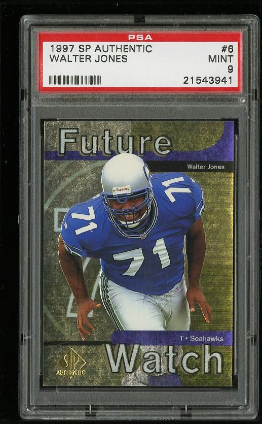 Image of: 1997 SP Authentic Walter Jones ROOKIE RC #6 PSA 9 MINT (PWCC)