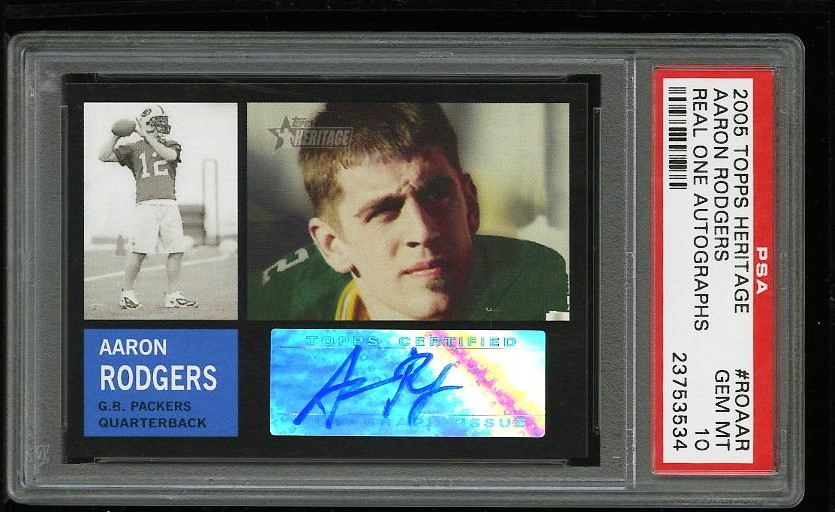 Image of: 2005 Topps Heritage Real One Aaron Rodgers ROOKIE RC AUTO PSA 10 GEM MINT (PWCC)