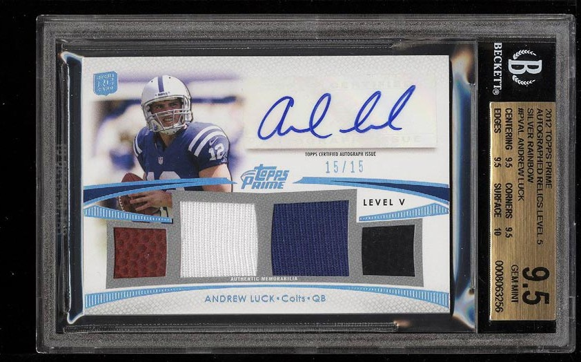 Image of: 2012 Topps Prime Silver Rainbow Andrew Luck RC AUTO PATCH 15/15 BGS 9.5 (PWCC)