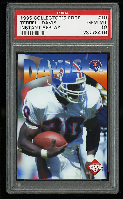 Image of: 1995 Collector's Edge Instant Replay Terrell Davis ROOKIE #10 PSA 10 GEM (PWCC)