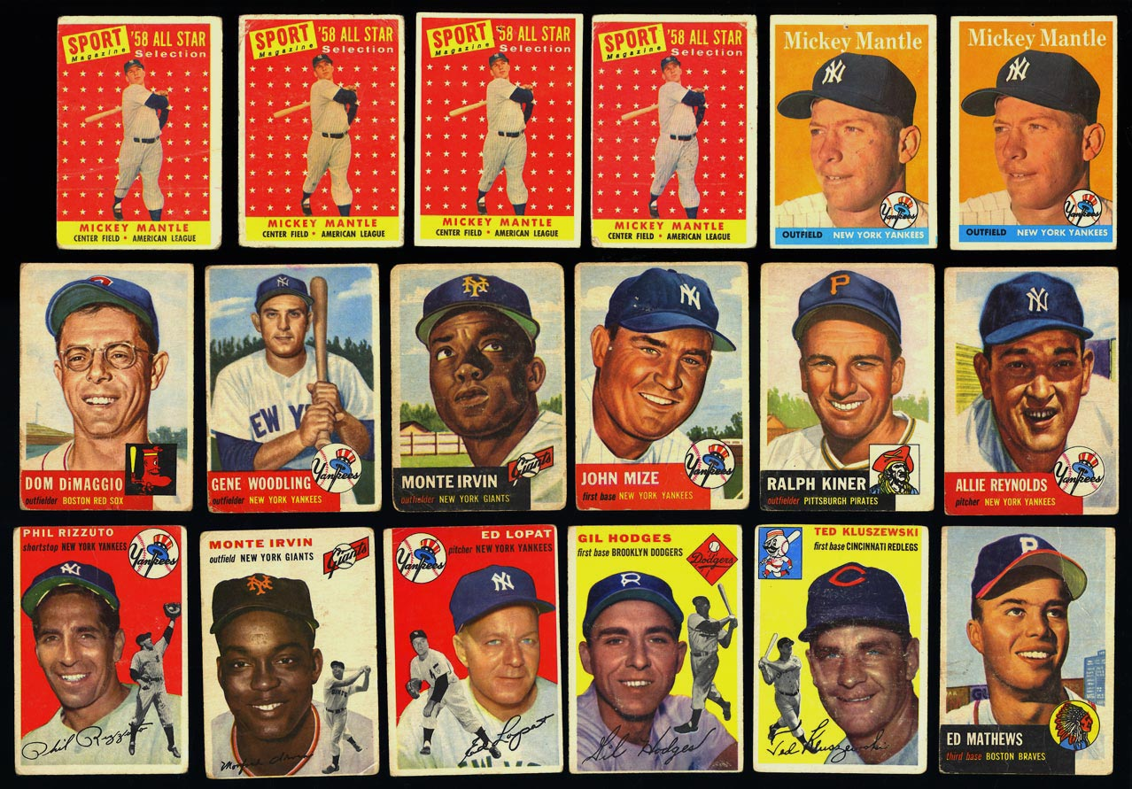 Lot(180) 1952-58 Topps Stars Mickey Mantle Mays Aaron Berra Ford, VG (PWCC) - Image 1