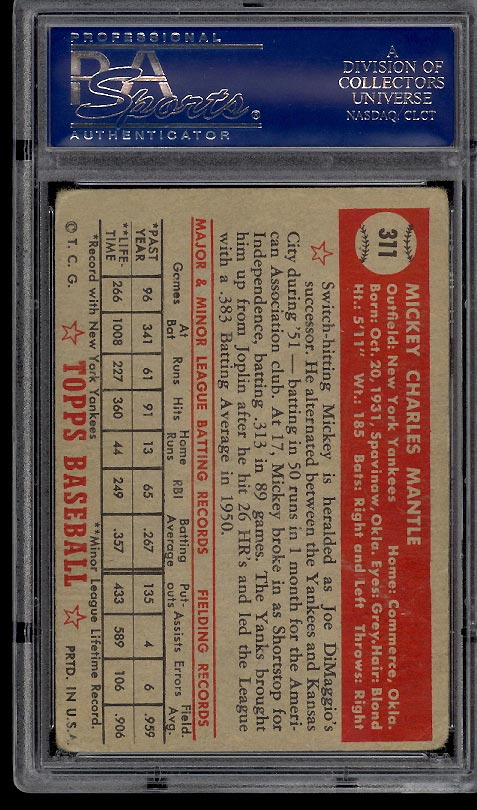 1952 Topps Mickey Mantle #311 PSA 1 POOR (PWCC) - Image 2