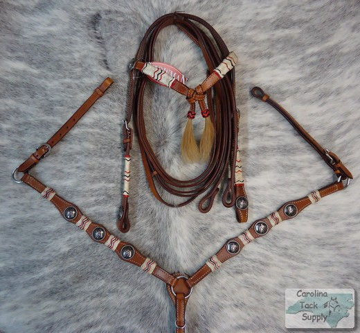 Barrel Racer Conchos Bridle Breastcollar w Rawhide Accents New Horse Tack