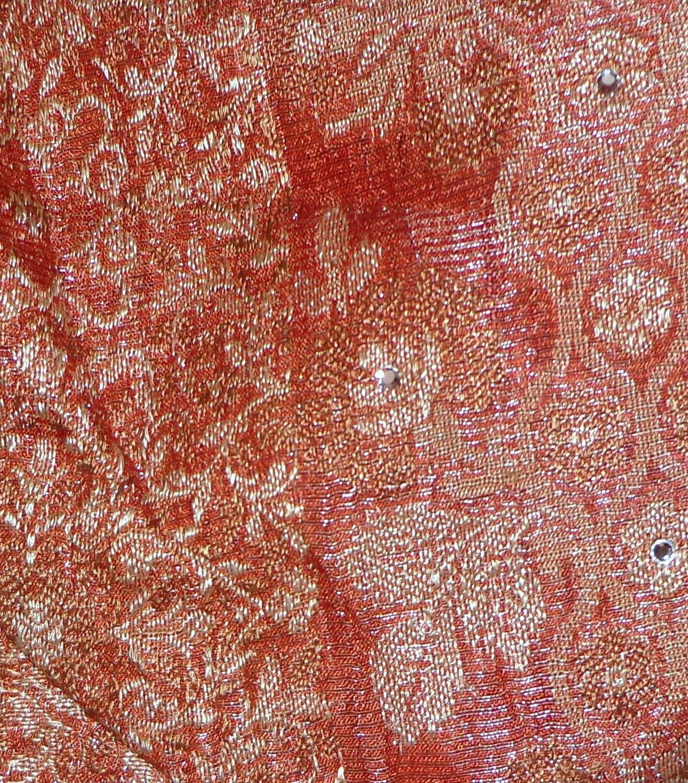 Lot Art Silk Antique Vintage Sari Remnant tissus 100 g Golden #ABXPF