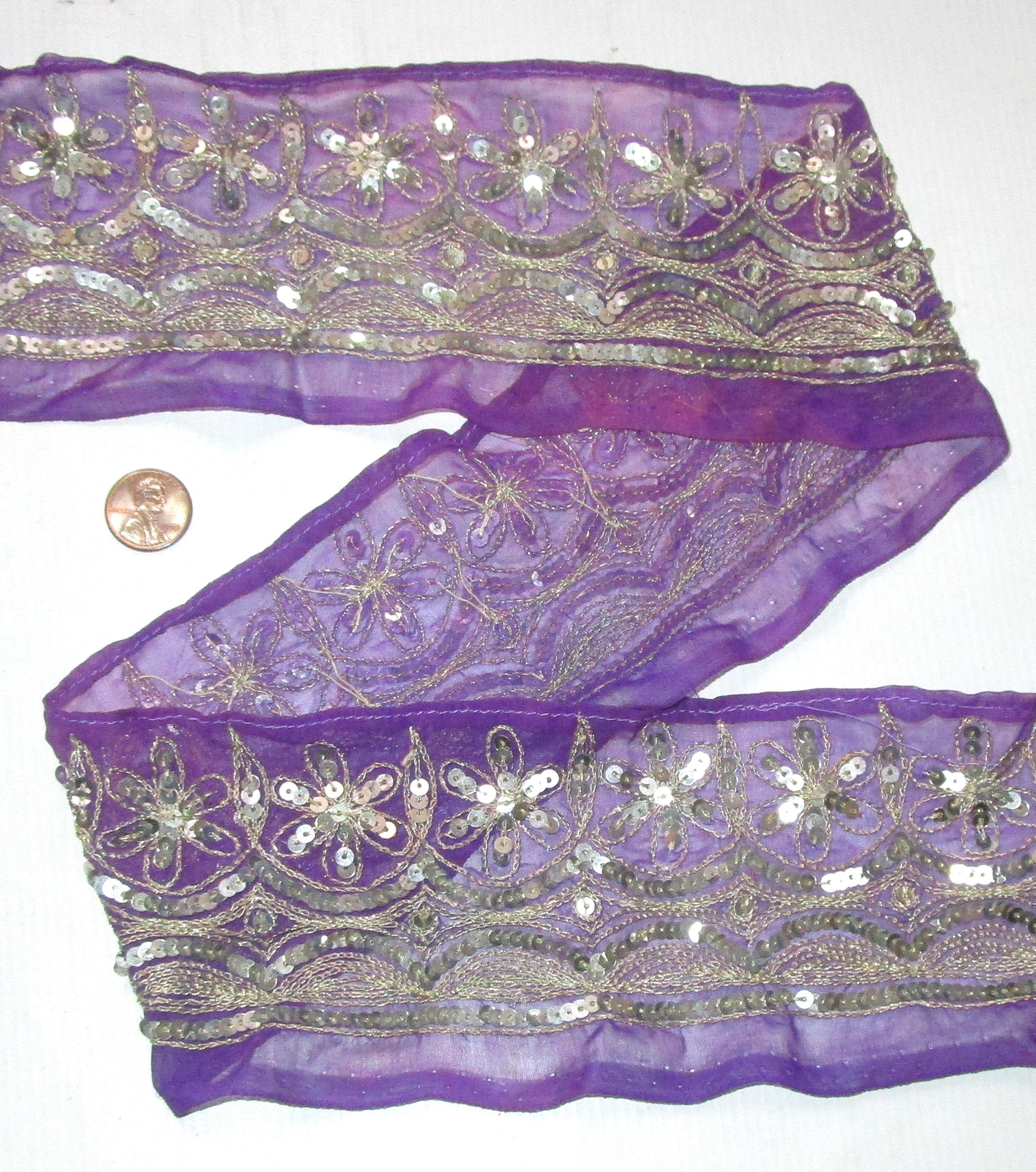 Vintage Antique Border Sari Trim Lace RARE OLD  2 ft M805 Sequins #ABHR3