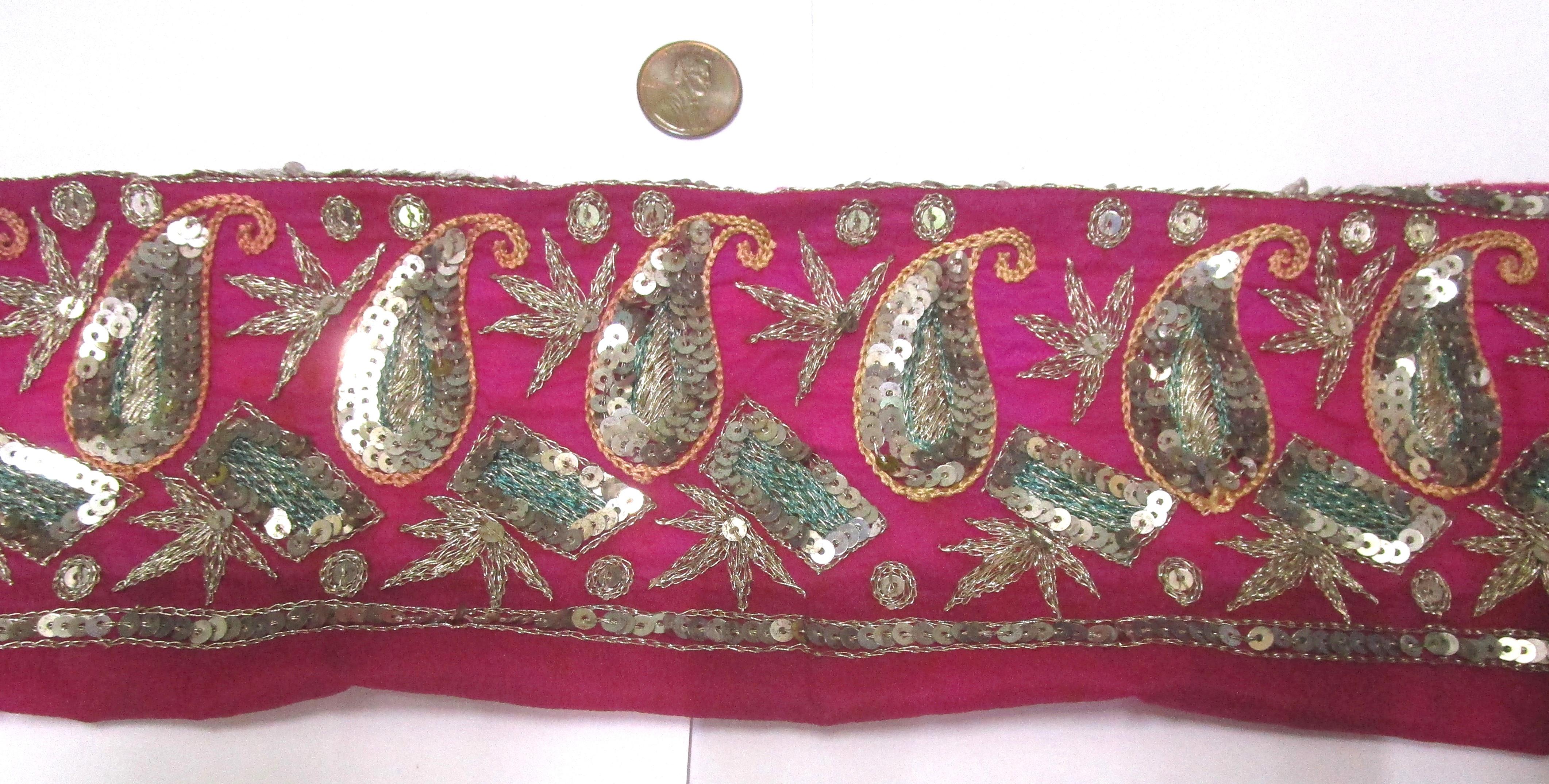 Vintage Antique Border Sari Trim Lace RARE OLD  2 ft Q1723 Embroidered #ABHOW