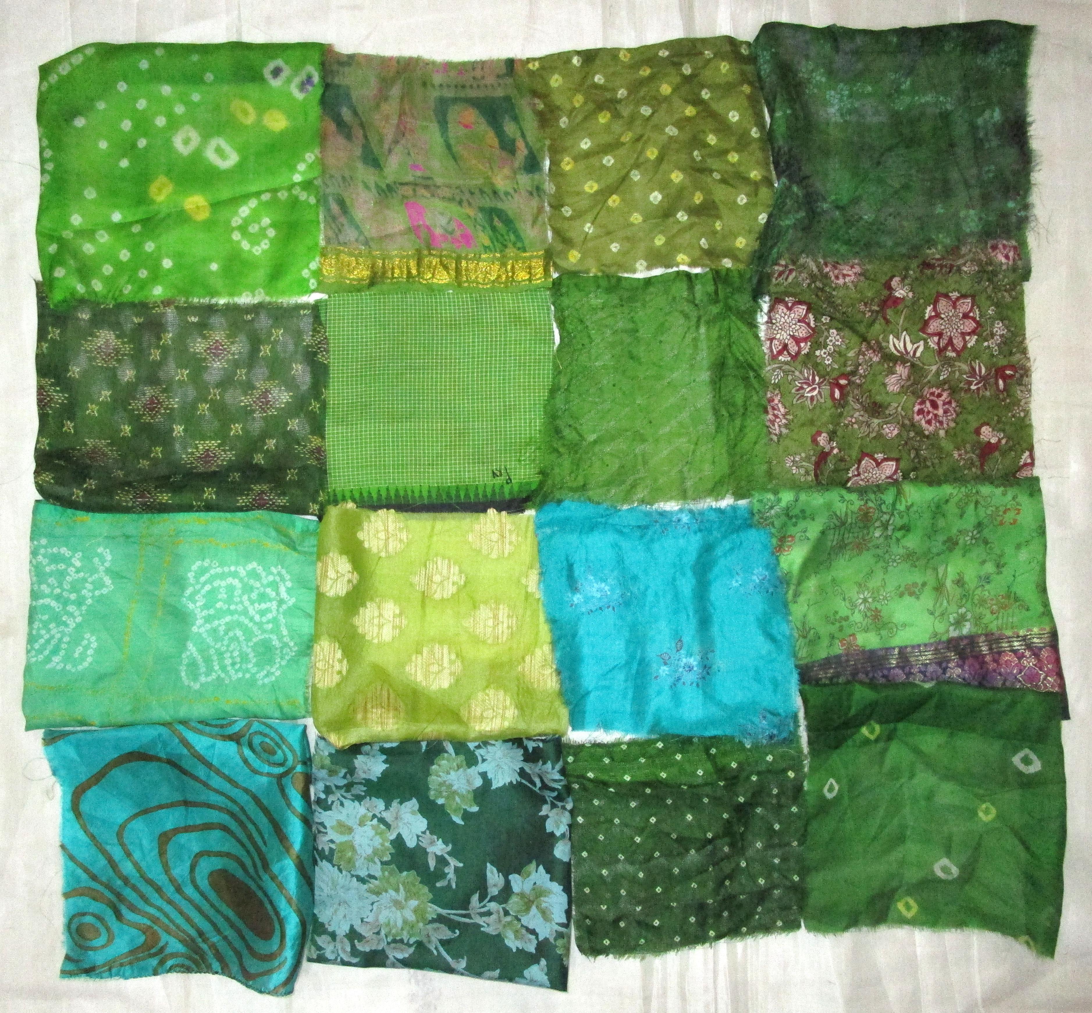 "LOT PURE SILK Vintage Sari Fabrics REMNANT 16 pcs 8/"" SQUARES SMALL FLOWER FLORAL"