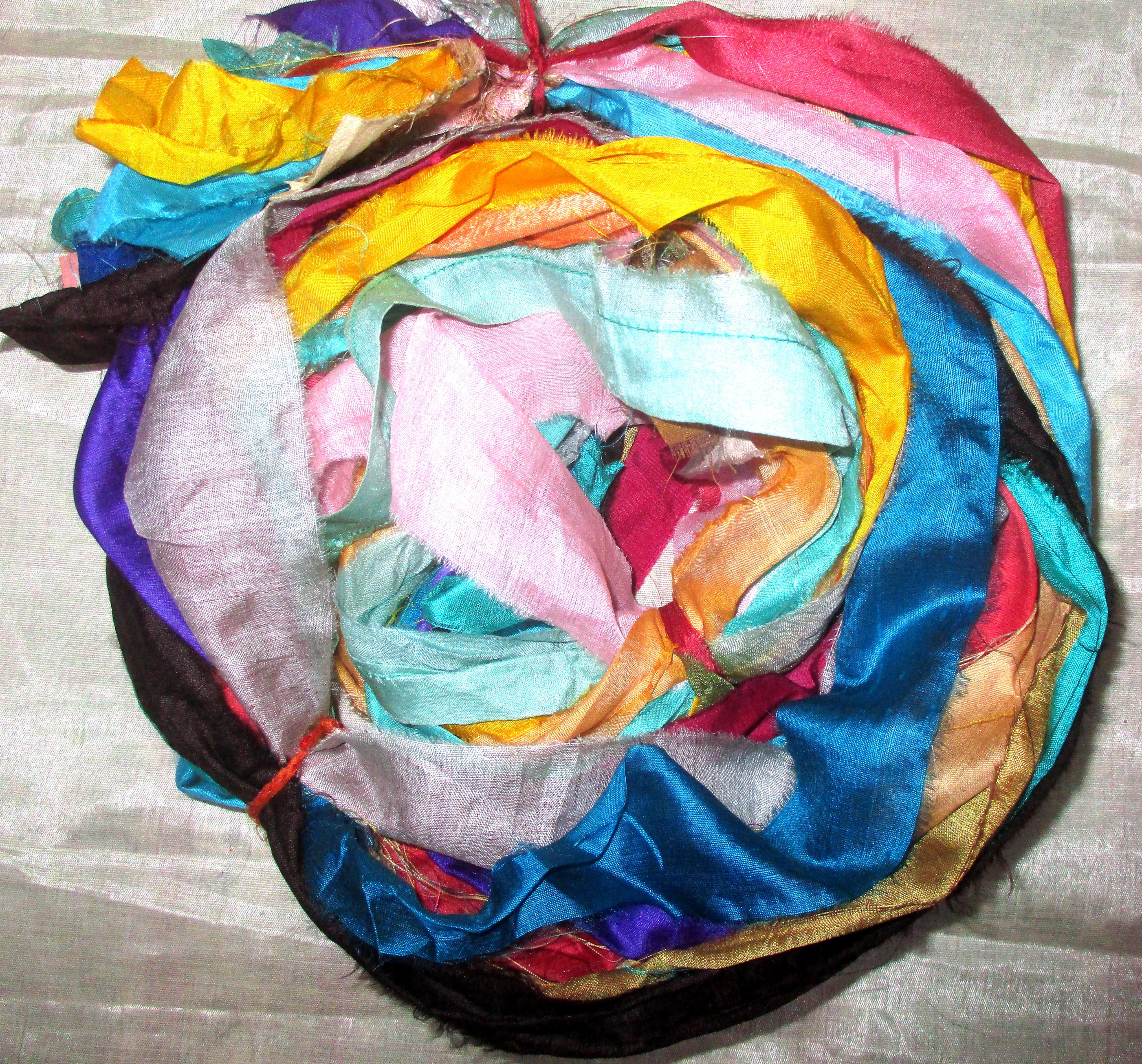 12 yards Unstitched Recycled PURE Silk Sari Ribbon Yarn tassels BEIGE Skeins