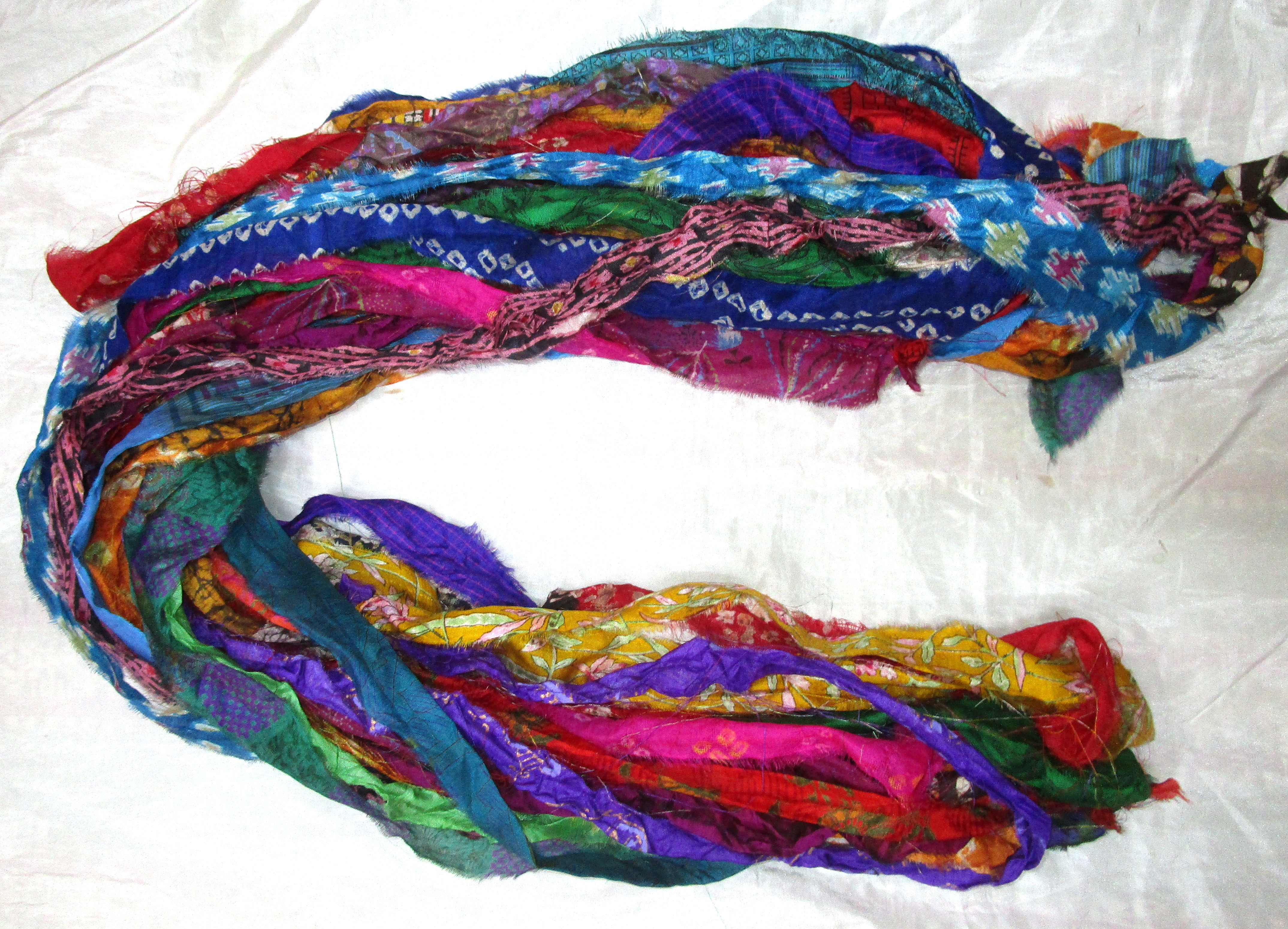 Details about 12 yards Unstitched Recycled PURE Silk Sari Ribbon Yarn  tassels MIXED SKEINS