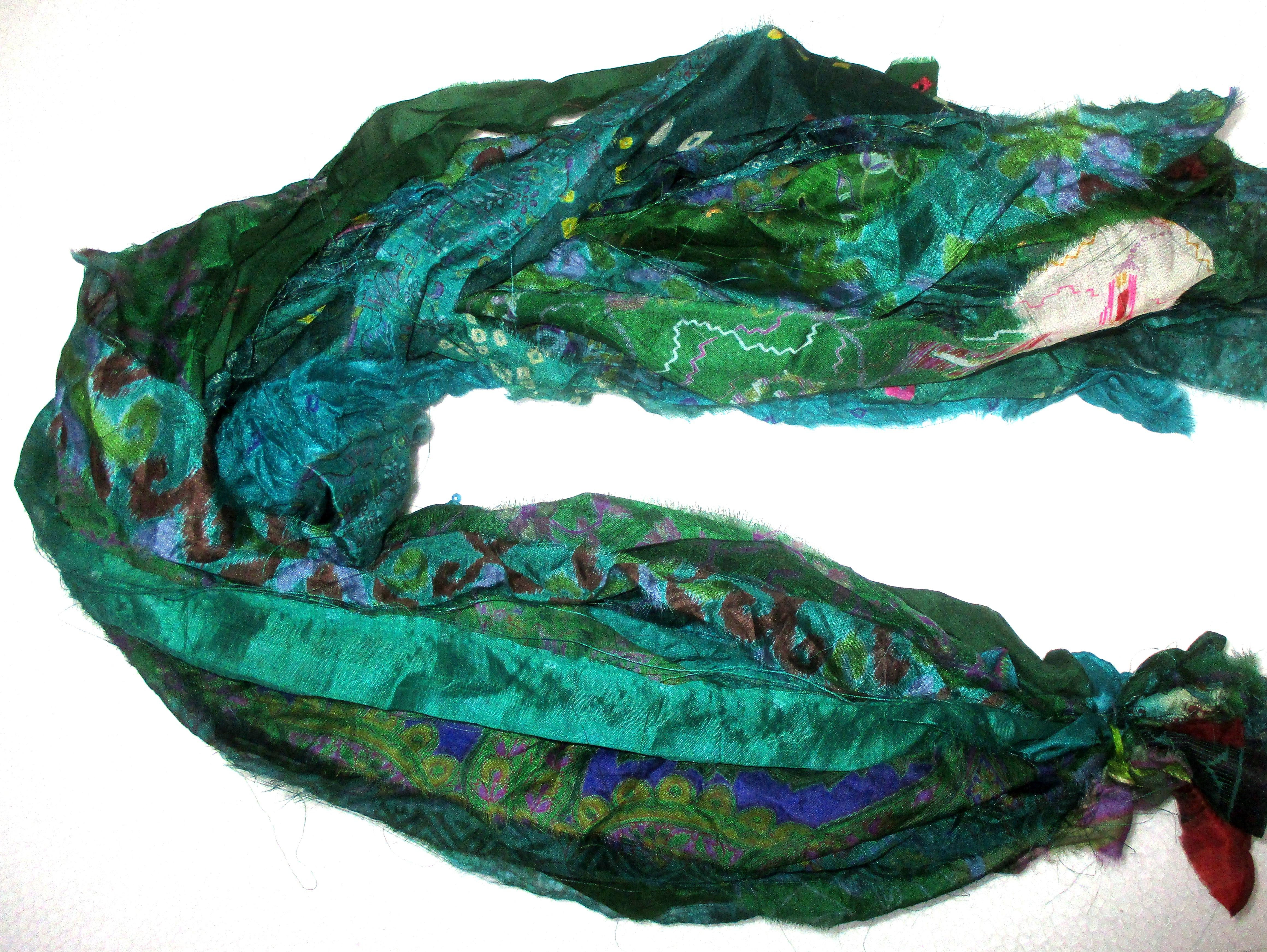 Recycled Sari Silk Ribbon Teal Green