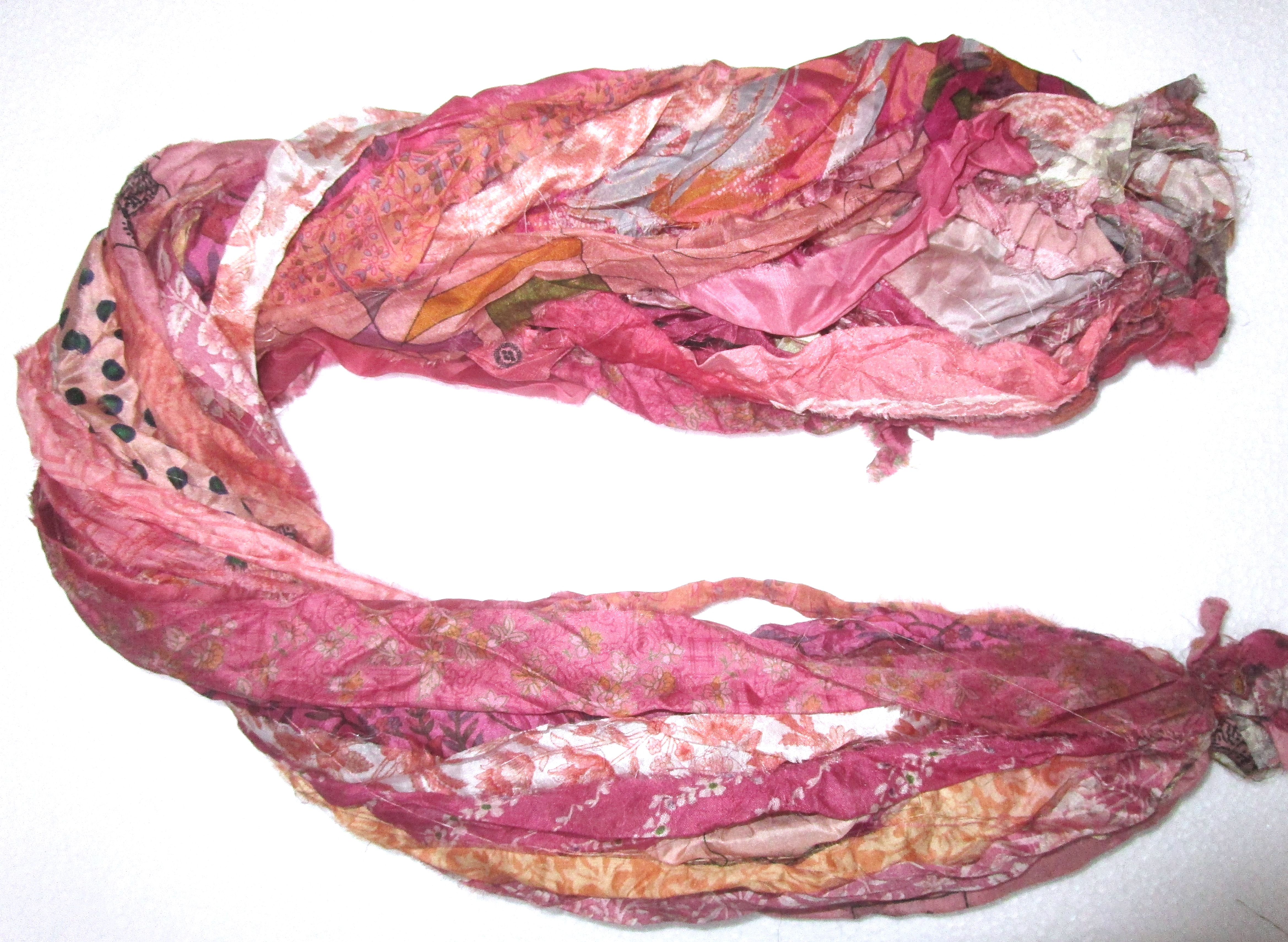 @ 12 yards Unstitched PURE Silk Sari Ribbon Yarn tassels SKEINS DULL LIGHT COLOR