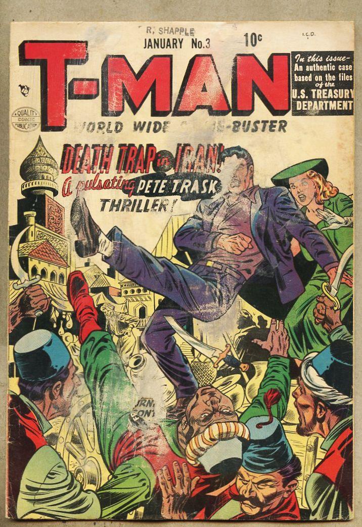 T-Man #3-1952 gd 2 0 Quality Comics Reed Crandall Harry