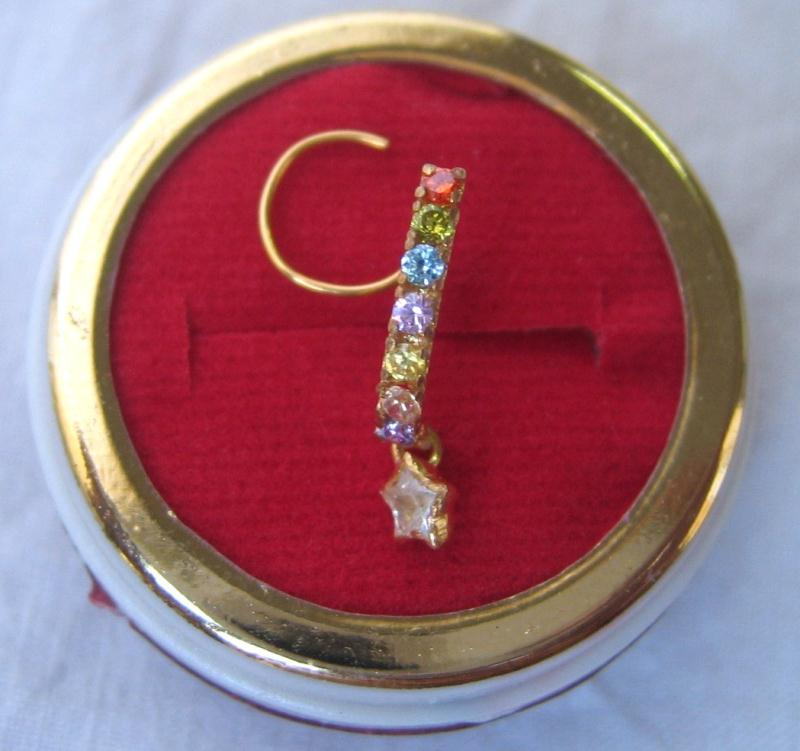 22k Solid Yellow Gold Nose Pin Multi-color Stone SALE DEAL BARGAIN PROMO #H